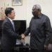 Balozi Mdogo wa China Xie Xiaolon akisalimiana na Makamu wa Pili wa Rais wa Zanzibar Balozi Seif Ali Iddi.