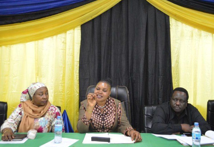 Waziri wa Nchi, Ofisi ya Waziri Mkuu, Sera, Bunge, Kazi, Vijana, Ajira na wenye Ulemavu, Jenista Mhagama (kati)
